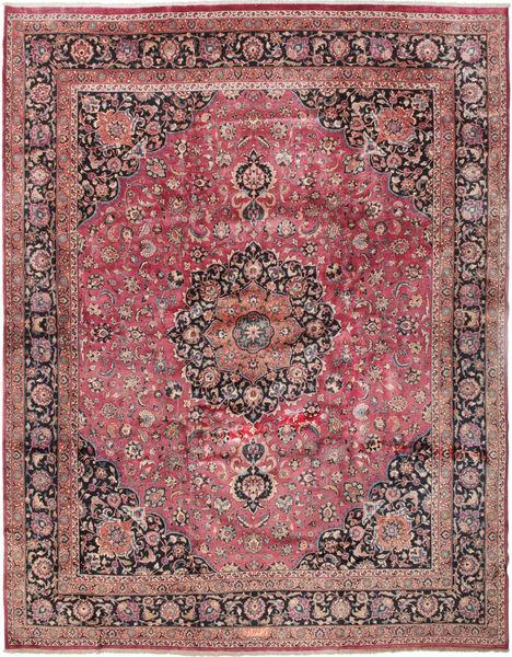 Mashad Signert: Akhondzadeh Teppe 386X487 Ekte Orientalsk Håndknyttet Mørk Rød/Mørk Blå Stort (Ull, Persia/Iran)