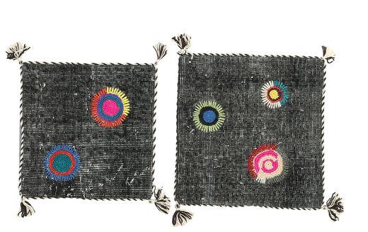 Pillowcase Vintage Relief Rug 50X50 Authentic  Oriental Handknotted Square Dark Grey (Wool, Turkey)