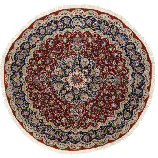 Tabriz 50 Raj Silk Warp Rug Ø 295 Authentic  Oriental Handknotted Round Dark Red/Light Grey Large (Wool/Silk, Persia/Iran)