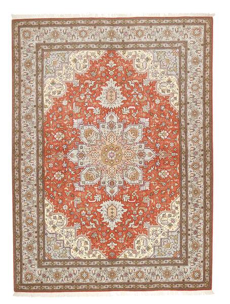 Tabriz 50 Raj Matto 150X208 Itämainen Käsinsolmittu Vaaleanruskea/Vaaleanharmaa (Villa/Silkki, Persia/Iran)