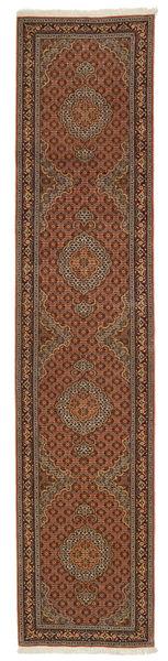 Tabriz 50 Raj Zijden Pool Vloerkleed 86X410 Echt Oosters Handgeknoopt Tapijtloper Bruin/Donkerbruin/Lichtbruin (Wol/Zijde, Perzië/Iran)