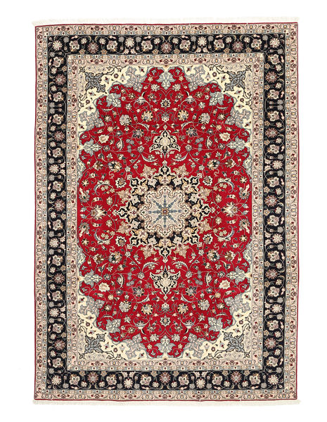Tabriz 50 Raj Silk Warp Rug 200X310 Authentic  Oriental Handknotted Light Brown/Dark Red (Wool/Silk, Persia/Iran)