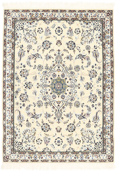 Nain 6La Rug 101X139 Authentic  Oriental Handknotted Beige/Light Grey (Wool/Silk, Persia/Iran)