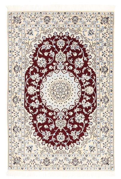 Nain 6La Matto 102X152 Itämainen Käsinsolmittu Beige/Tummanpunainen (Villa/Silkki, Persia/Iran)