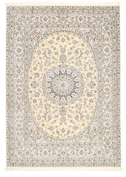 Nain 6La Allekirjoitettu: Tajeb Mohamadi Matto 205X295 Itämainen Käsinsolmittu Vaaleanharmaa/Beige (Villa/Silkki, Persia/Iran)