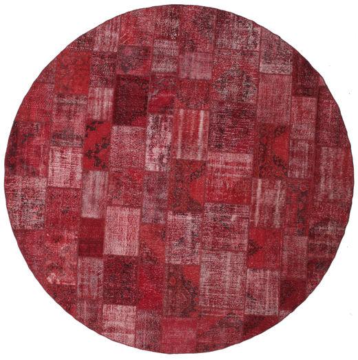 Patchwork Dywan Ø 402 Nowoczesny Tkany Ręcznie Okrągły Ciemnoczerwony/Fioletowy Duży (Wełna, Turcja)