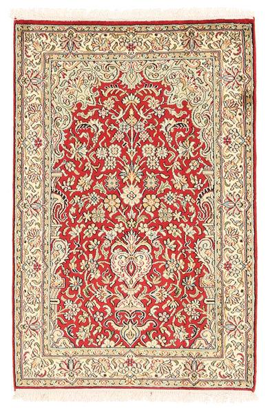 Kashmir 100% Silkki Matto 65X98 Itämainen Käsinsolmittu Vaaleanpunainen/Ruskea (Silkki, Intia)