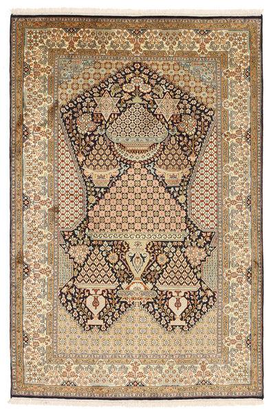 Kashmir Pure Silk Rug 126X191 Authentic  Oriental Handknotted Light Brown/Brown (Silk, India)