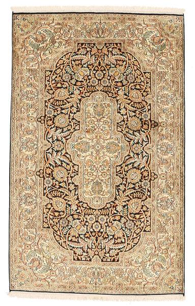 Kashmir 100% Silkki Matto 97X156 Itämainen Käsinsolmittu Vaaleanruskea/Ruskea (Silkki, Intia)