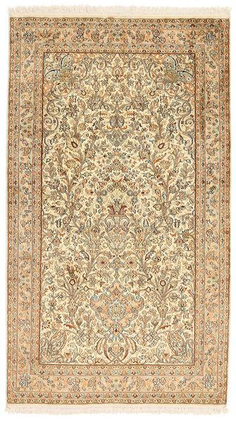 Kashmir 100% Silkki Matto 95X164 Itämainen Käsinsolmittu Beige/Vaaleanruskea (Silkki, Intia)