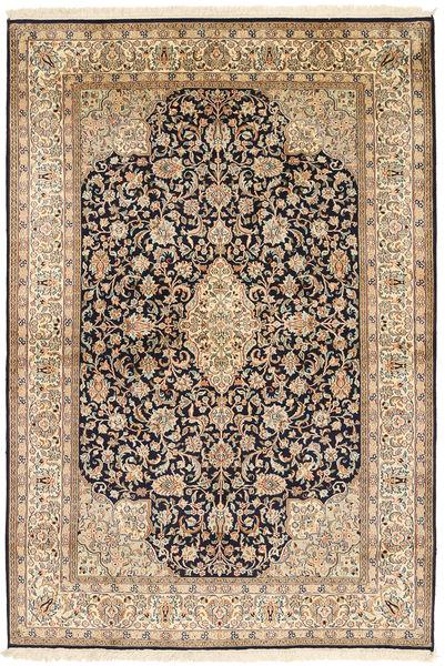 Kashmir Ren Silke Teppe 126X185 Ekte Orientalsk Håndknyttet Lysbrun/Beige (Silke, India)
