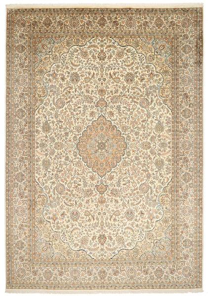 Kaschmir Reine Seide Teppich  244X347 Echter Orientalischer Handgeknüpfter Beige/Hellgrau (Seide, Indien)