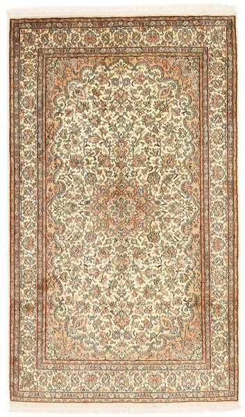 Kashmir 100% Silkki Matto 94X159 Itämainen Käsinsolmittu Beige/Vaaleanruskea (Silkki, Intia)