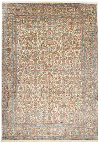 Kashmir Pure Silk Rug 245X347 Authentic  Oriental Handknotted Light Brown/Beige (Silk, India)