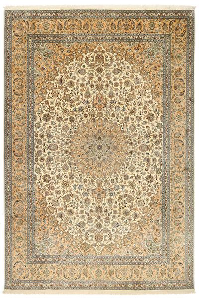 Kashmir Pure Silk Rug 212X315 Authentic  Oriental Handknotted Dark Beige/Light Brown (Silk, India)