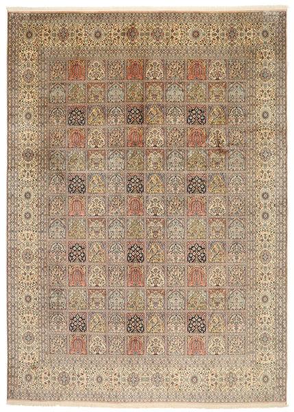 Kashmir Pure Silk Rug 245X344 Authentic  Oriental Handknotted Light Brown/Brown (Silk, India)