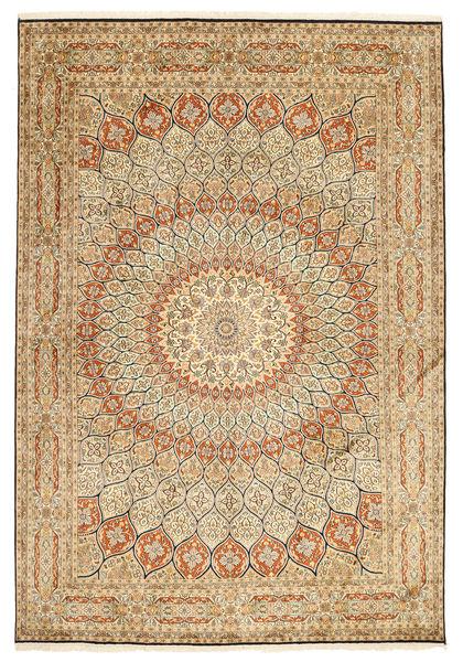 Kashmir Pure Silk Rug 189X275 Authentic  Oriental Handknotted Light Brown/Dark Beige (Silk, India)