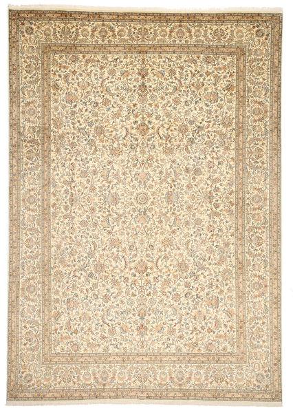 Kashmir 100% Silkki Matto 246X352 Itämainen Käsinsolmittu Vaaleanruskea/Beige (Silkki, Intia)