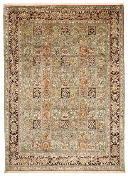 Kashmir Pure Silk Rug 242X339 Authentic  Oriental Handknotted Light Brown/Beige (Silk, India)