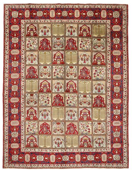 Yazd Matto 298X383 Itämainen Käsinsolmittu Tummanpunainen/Beige Isot (Villa, Persia/Iran)