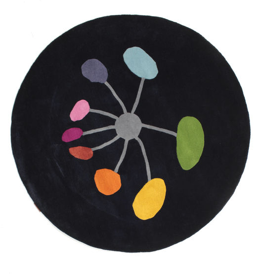 Flower In The Wind Handtufted Tapis Ø 150 Moderne Rond Bleu Foncé (Laine, Inde)