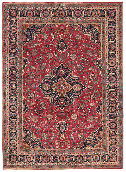Mashad Patina Signed: Aghai Pour Rug 247X345 Authentic  Oriental Handknotted Crimson Red/Dark Blue (Wool, Persia/Iran)