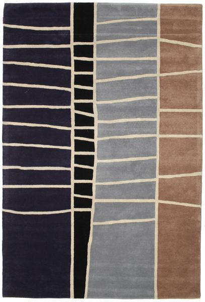 Abstract Bambú Handtufted Alfombra 200X300 Moderna Púrpura Oscuro/Gris Claro (Lana, India)