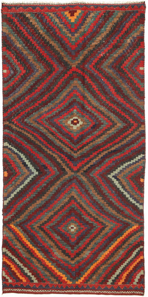 Kilim Fars Rug 147X304 Authentic  Oriental Handwoven Dark Red/Dark Grey (Wool, Persia/Iran)