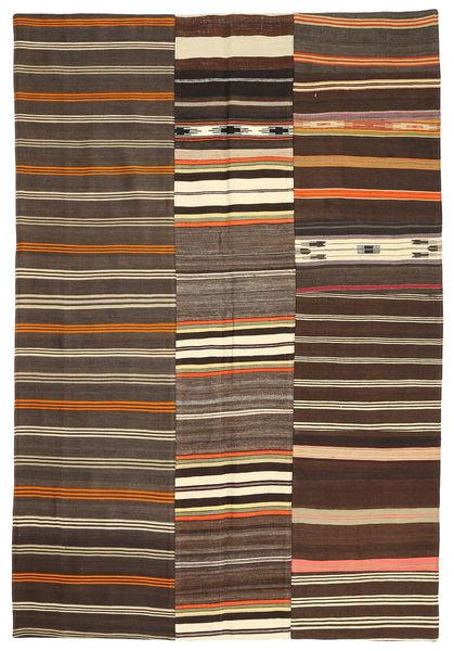Kilim Patchwork Rug 158X232 Authentic  Modern Handwoven Dark Brown/Brown (Wool, Turkey)