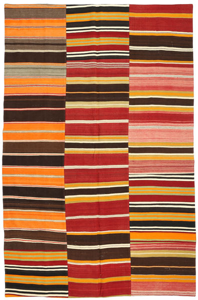 Kilim Patchwork Rug 196X300 Authentic  Modern Handwoven Rust Red/Dark Brown (Wool, Turkey)