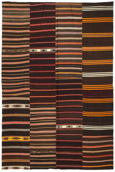 Kelim Patchwork Tapijt 237X360 Echt Modern Handgeweven Donkerrood/Donkerbruin (Wol, Turkije)