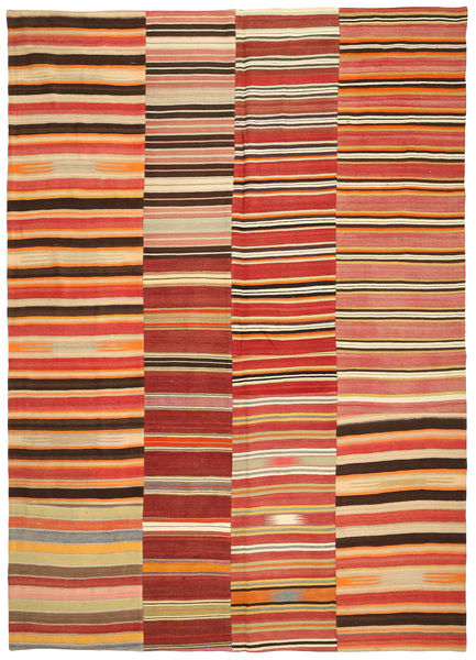 Kilim Patchwork Rug 251X357 Authentic  Modern Handwoven Rust Red/Light Brown Large (Wool, Turkey)