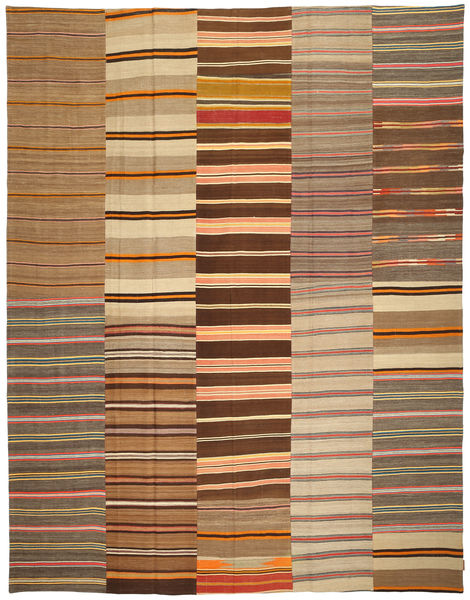 Kilim Patchwork Rug 300X387 Authentic  Modern Handwoven Brown/Light Brown Large (Wool, Turkey)