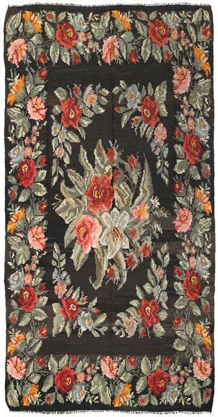 Kelim Rosen Teppich  171X325 Echter Orientalischer Handgewebter Dunkelgrau/Olivgrün (Wolle, Moldawien)