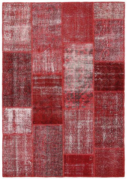 Patchwork Matto 164X234 Moderni Käsinsolmittu Tummanpunainen/Vaaleanvioletti (Villa, Turkki)