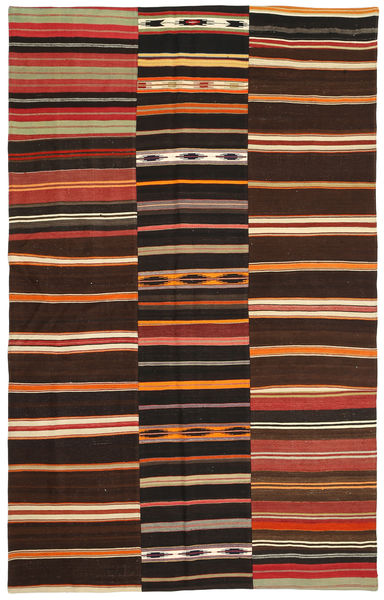 Kilim Patchwork Rug 185X294 Authentic  Modern Handwoven Dark Brown (Wool, Turkey)