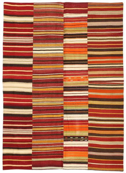 キリム パッチワーク 絨毯 170X235 モダン 手織り 錆色/薄茶色 (ウール, トルコ)