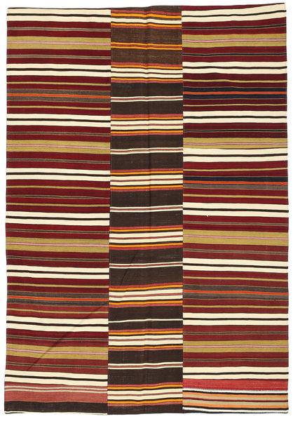 Kelim Patchwork Teppich  162X238 Echter Moderner Handgewebter Dunkelrot/Beige (Wolle, Türkei)