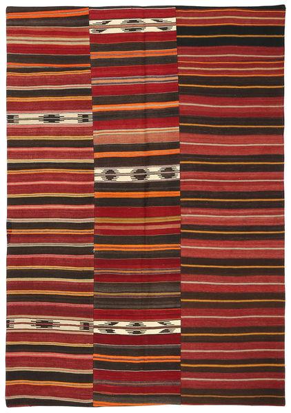 Kilim Patchwork Tapis 156X230 Moderne Tissé À La Main Marron Foncé/Rouge Foncé (Laine, Turquie)