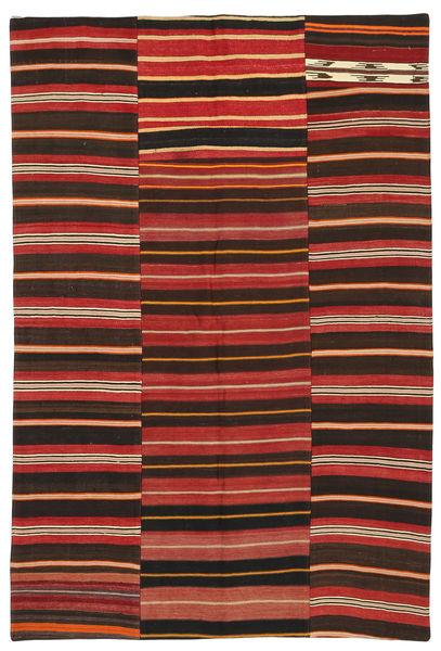 Kelim Patchwork Matto 153X228 Moderni Käsinkudottu Tummanruskea/Ruoste (Villa, Turkki)