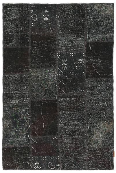Patchwork Matto 120X186 Moderni Käsinsolmittu Musta/Tummanharmaa (Villa, Turkki)