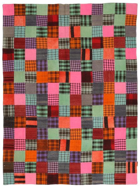 キリム パッチワーク 絨毯 184X246 モダン 手織り 濃い茶色/深紅色の (ウール, トルコ)