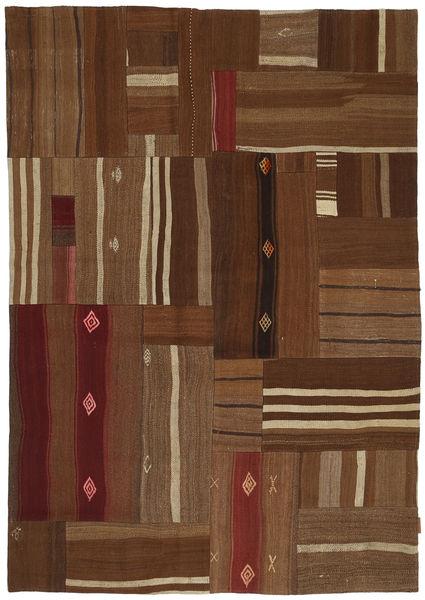 Kilim Patchwork Rug 164X236 Authentic  Modern Handwoven Dark Brown/Brown (Wool, Turkey)