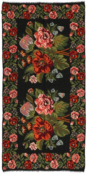 Kelim Rosen Teppich  158X315 Echter Orientalischer Handgewebter Schwartz/Dunkelgrün (Wolle, Moldawien)