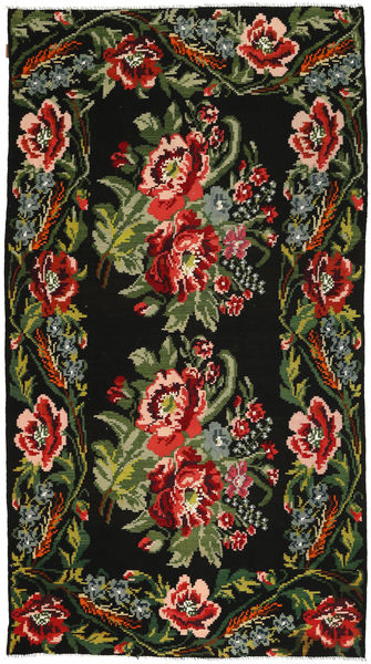 Rose Kelim Rug 177X325 Authentic  Oriental Handwoven Dark Green/Rust Red (Wool, Moldova)