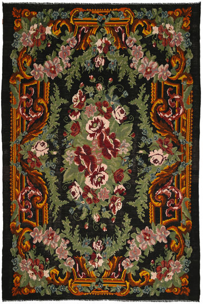 Rose Kelim Rug 245X364 Authentic  Oriental Handwoven Dark Grey/Dark Green (Wool, Moldova)