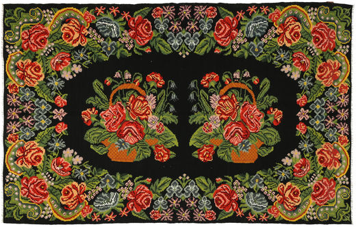 Rose Kelim Rug 191X304 Authentic  Oriental Handwoven Dark Green/Olive Green (Wool, Moldova)