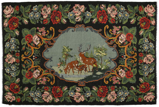 Rose Kelim Rug 222X333 Authentic  Oriental Handwoven Dark Green/Dark Brown (Wool, Moldova)