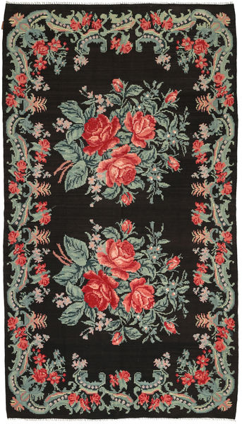 Rose Kelim Rug 186X331 Authentic  Oriental Handwoven Dark Grey (Wool, Moldova)