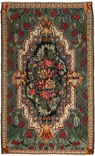 Kilim Rose Tapis 191X317 D'orient Tissé À La Main Gris Foncé/Marron Clair (Laine, Moldavie)
